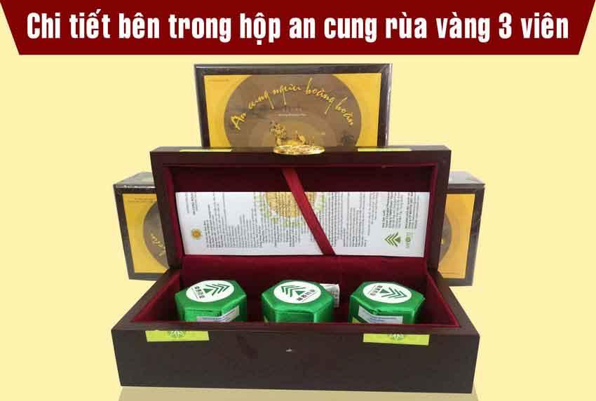 Thuốc An Cung Ngưu Hoàng Hoàn Rùa Vàng hộp 3 viên