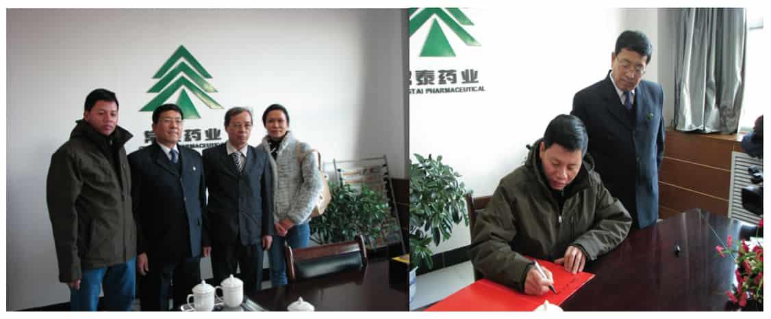 Lãnh đạo công ty Meotis Việt Nam ký kết hợp tác với lãnh đạo công ty Dược phẩm Diên An