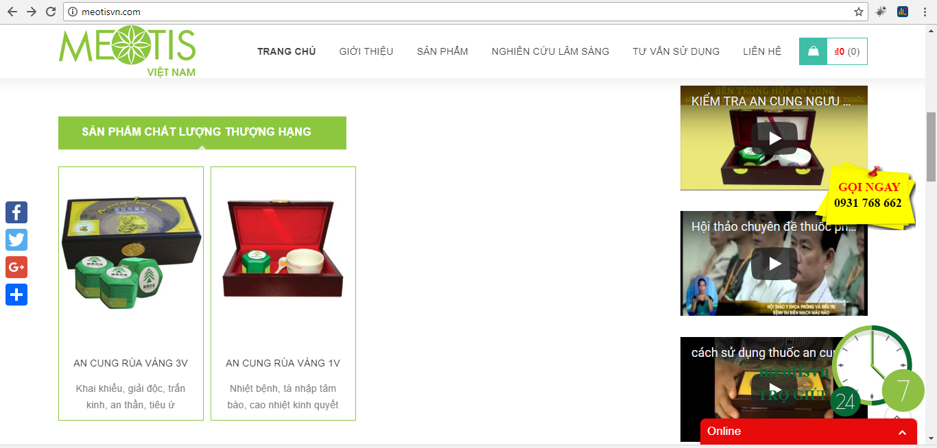 công ty  Meotis Việt Nam phân phối An Cung Rùa Vàng